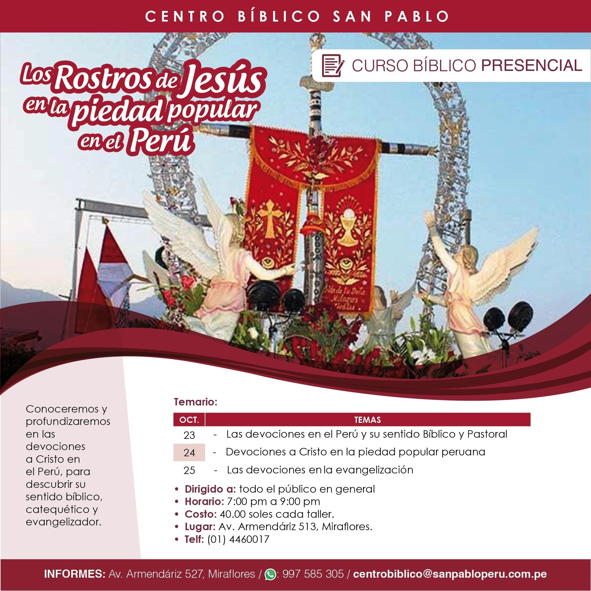 """Curso Bíblico Presencial: """"Los rostros de Jesús en la piedad popular en el Perú"""""""