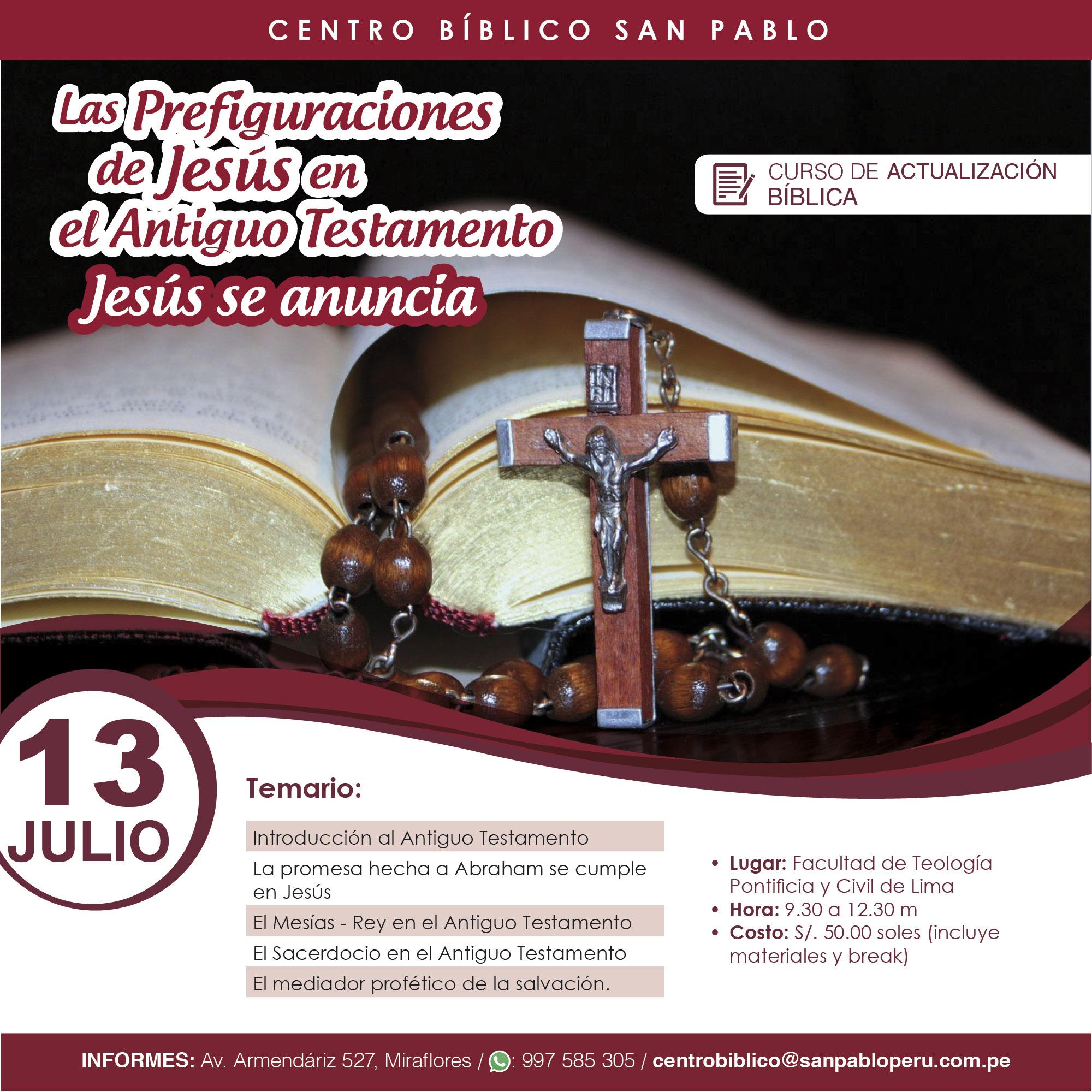 Curso Presencial: Las Prefiguraciones  de Jesús en el Antiguo Testamento