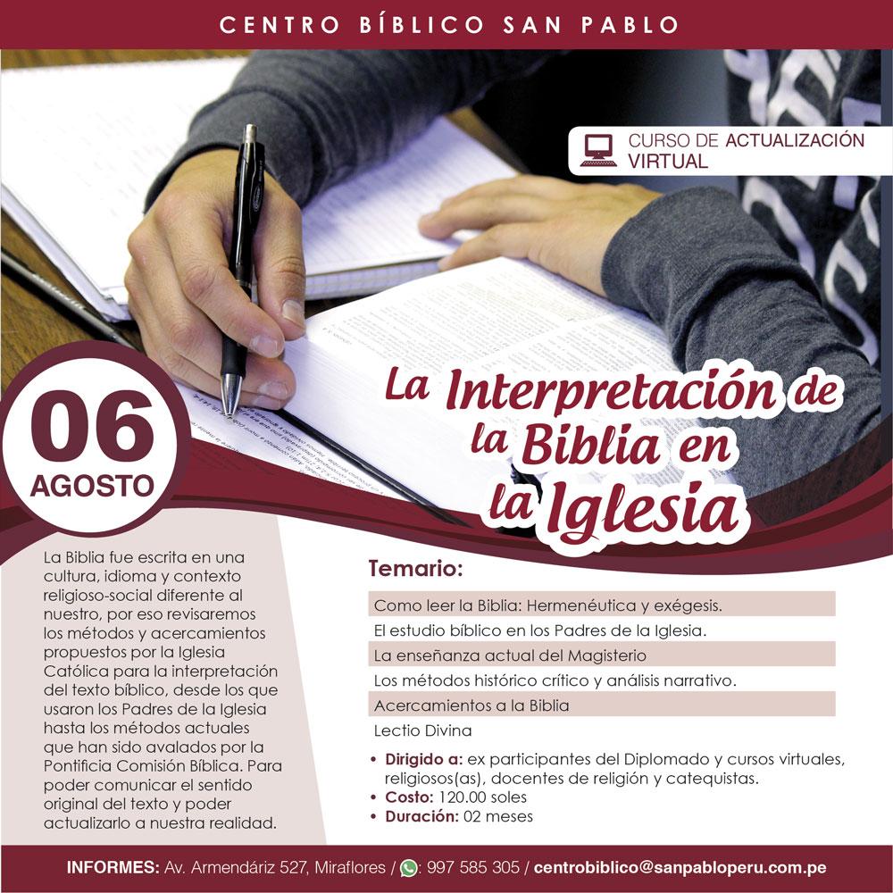 """Curso Virtual: """"La interpretación de la Biblia en la Iglesia"""""""