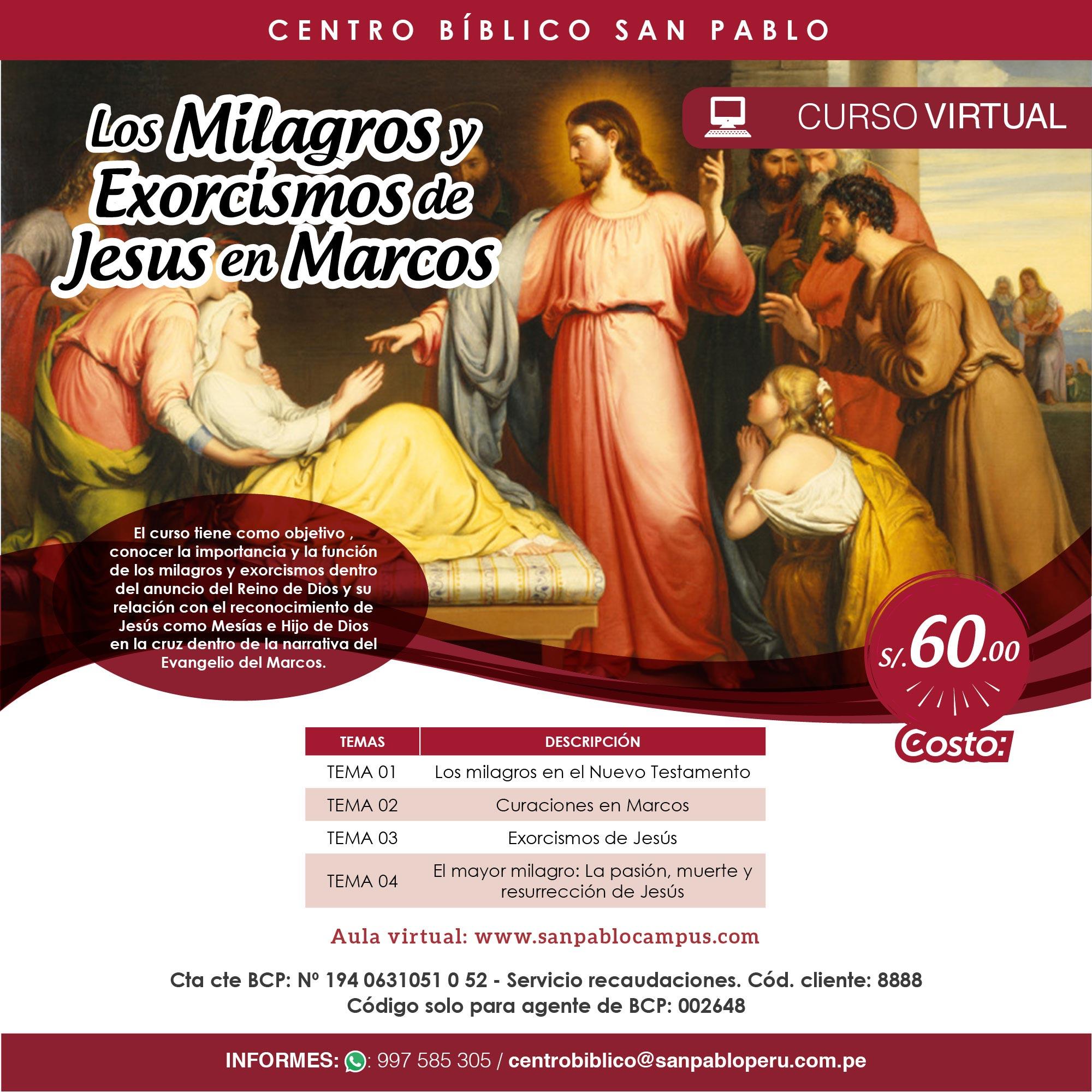 """Curso Virtual: """"Los Milagros y Exorcismos de Jesús en Marcos"""""""