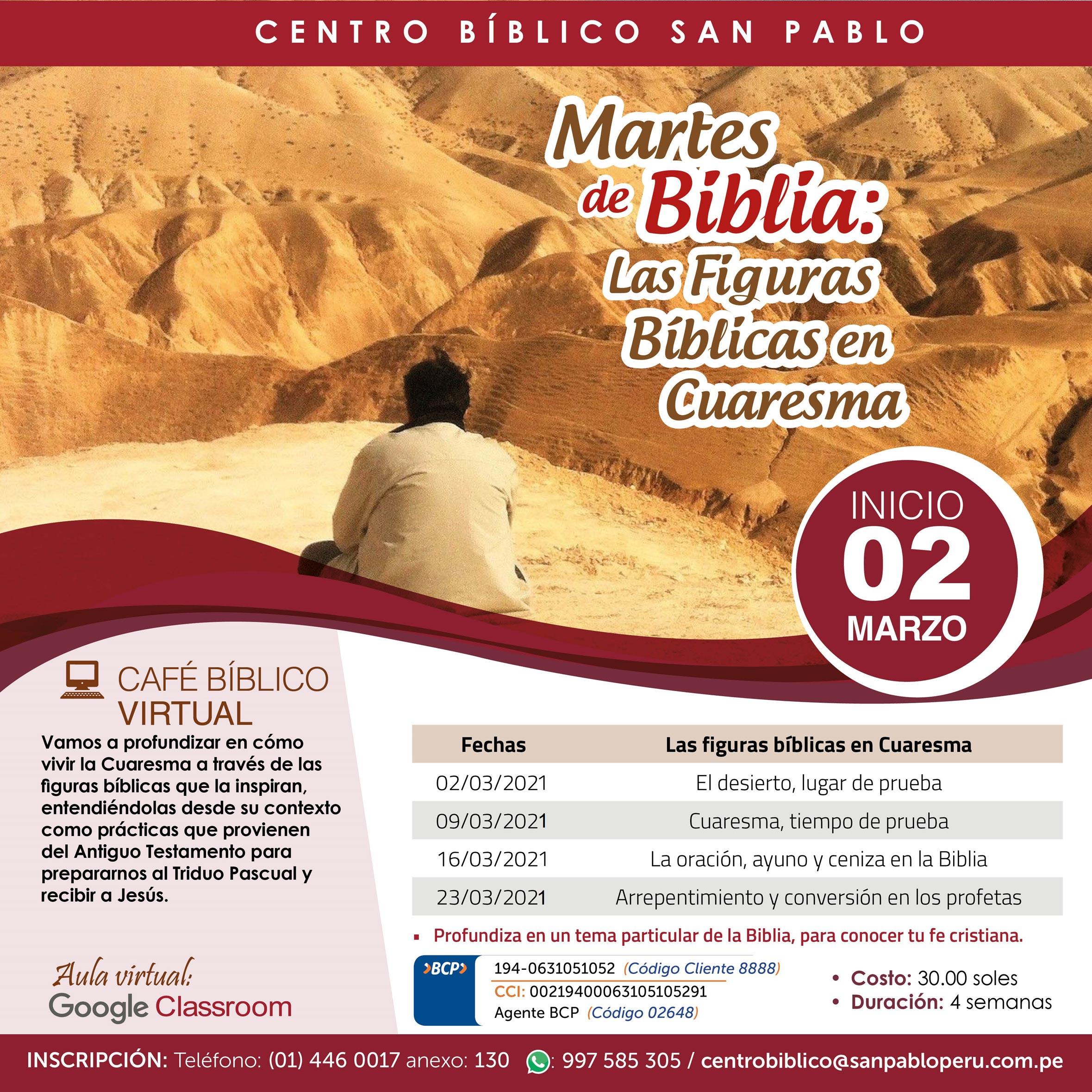 """Curso Virtual """"Martes de Biblia: Las Figuras Bíblicas en Cuaresma""""."""