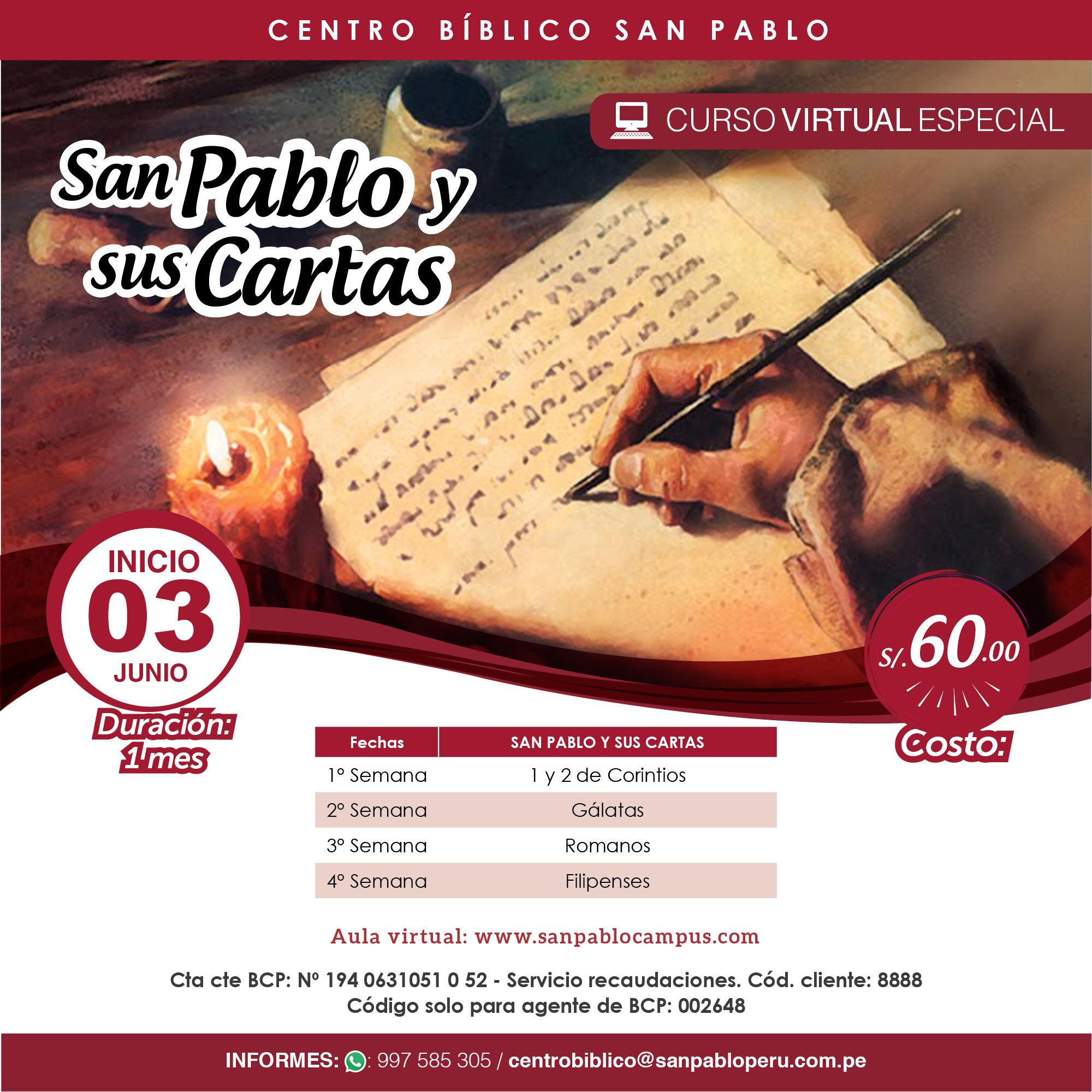 """Curso Virtual: """"San Pablo y sus Cartas"""""""