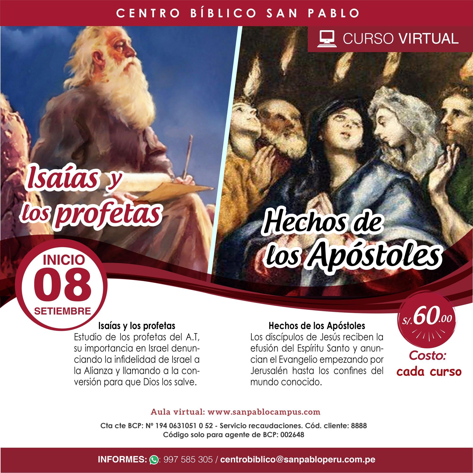 """Cursos Virtuales """"Isaías y los profetas / Hechos de los Apóstoles"""""""