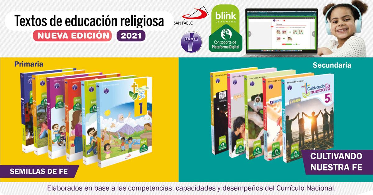 Nuevos Textos Escolares de Educación Religiosa de SAN PABLO - ODEC LIMA 2021