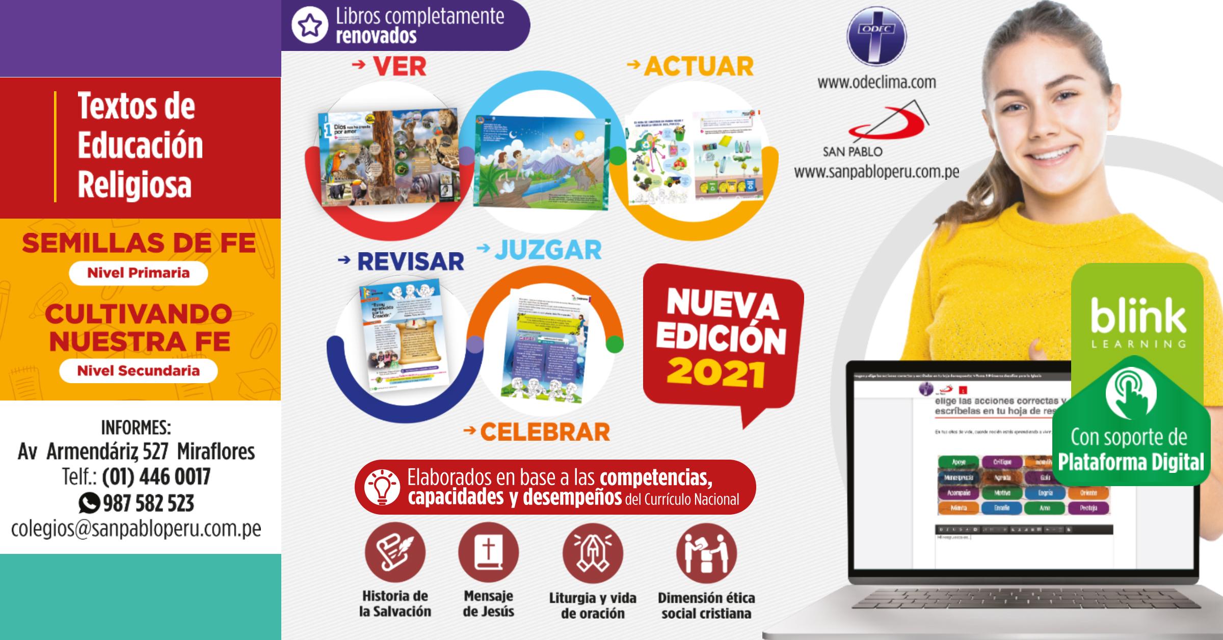 Nuevos Textos Escolares de Educación Religiosa de SAN PABLO - ODEC LIMA